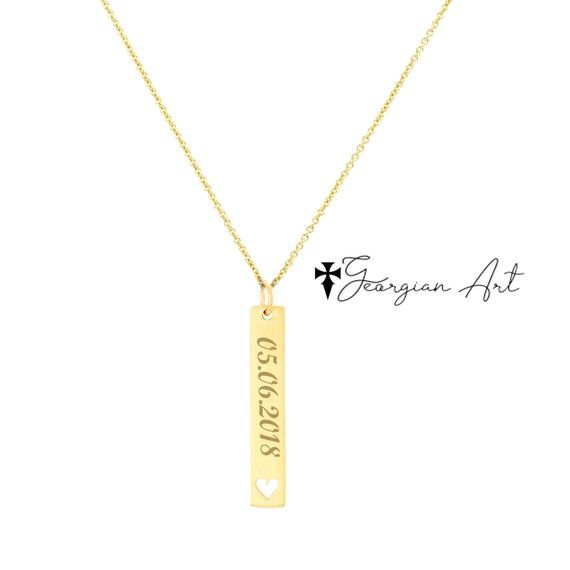 10k 14k Or 18k Solid Gold Personalized Vertical Bar Necklace Etsy In 2020 Personalized Vertical Bar Necklace Vertical Bar Necklace Engraved Bar Necklace