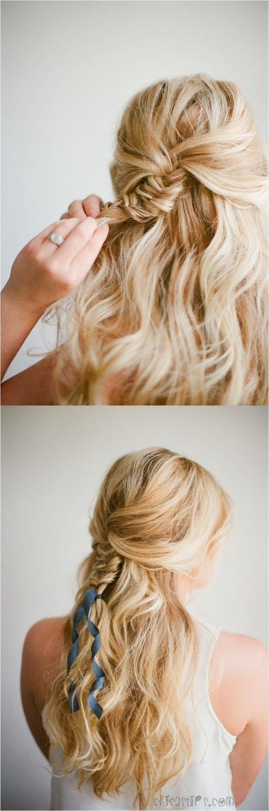 Half up fishtail braid with ribbon