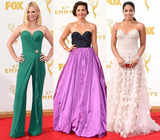Sweetheart Necklines January Jones wore for a green Ulyana Sergeenko Fall 2015 Couture jumpsuit with a sweetheart neckline, but plenty of gowns featured it as well. Maggie Gyllenhaal opted for an Oscar de la Renta Fall 2015 gown, while Jane the Virgin star Gina Rodriguez stood out in a Lorena Sarbu Fall 2015 design.
