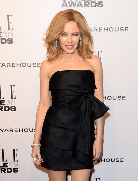 Kylie Minogue with gorgeous blonde hair/centre part at the ELLE Style Awards - February 2014