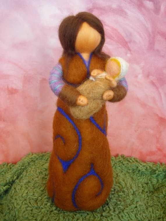 Mother with baby personalized gift felted waldorf by naturechild