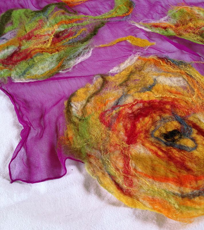 nuno felted scarf -Colour Me Perfect- #weddings, #christmasgift, #giftforher, #women, #scarf, #accessory, #clothing, #fashion, #christmas, #gift, #wrap, #shawl, #felting, #shopping, #celebration, #romantic, #QaraQul, #feltedscarf, #chiffonsilk, #merinowool