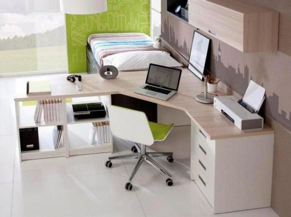 white corner desk with lots of storage - Desk In Bedroom Ideas