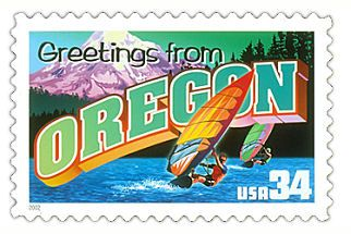 The Oregon State Postage Stamp  Depicted above is the Oregon state 34 cent stamp from the Greetings From America commemorative stamp series. The United States Postal Service released this stamp on April 4, 2002. The retro design of this stamp resembles the large letter postcards that were popular with tourists in the 1930's and 1940's.