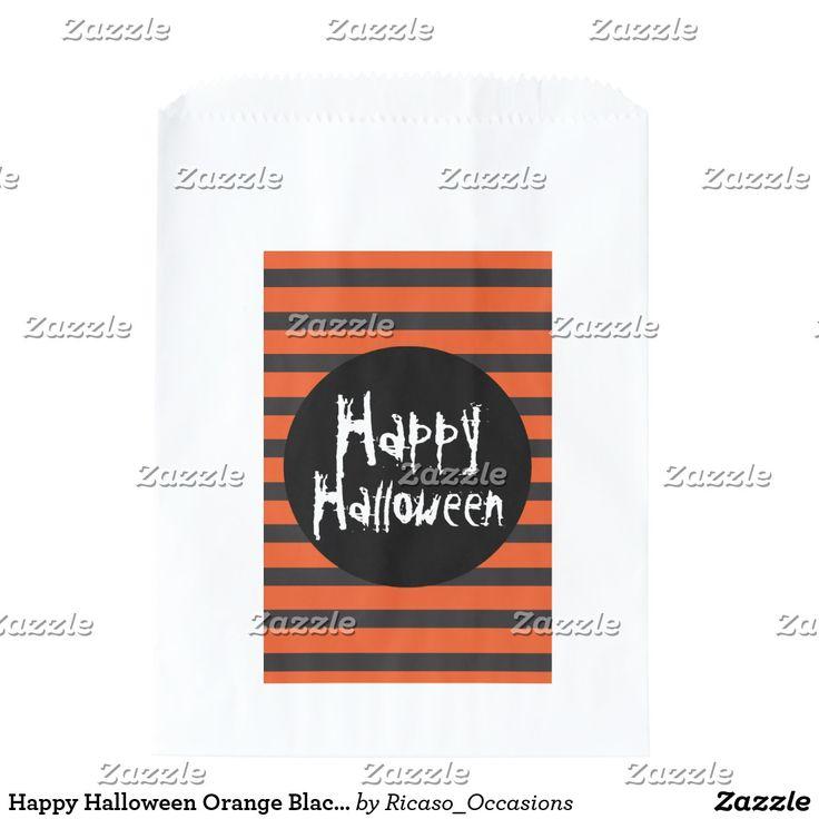 Happy Halloween Orange Black Striped Spooky Font Favor Bag