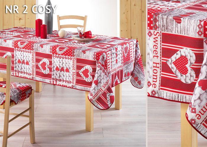 Nowoczesny biały obrus na stół w czerwone serduszka HOME