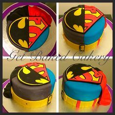 Half superman Half batman custom made cake. With capes! By Get Baked Cakery!