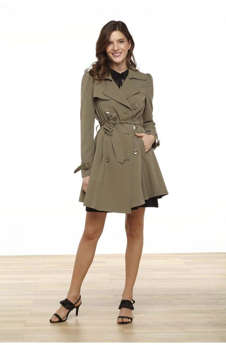 Trench ceinture forme a  vert de gris - blazers femme - naf naf 5