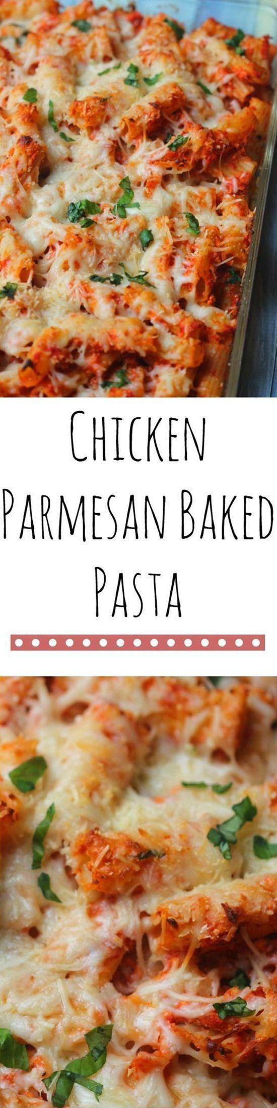 Chicken Parmesan Baked Pasta