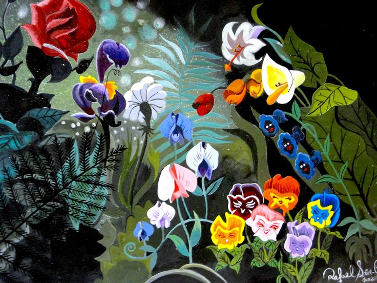 Alice In Wonderland Characters Flowers Rose Iris Daisy
