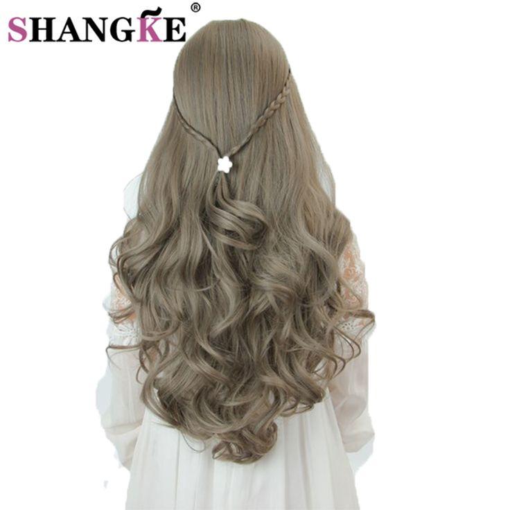 SHANGKE Hair Long Wavy Gray Wig High Temperature Fiber Synthetic Wigs For Black Women Long Female Hair Wig Long Braid Hair Wigs