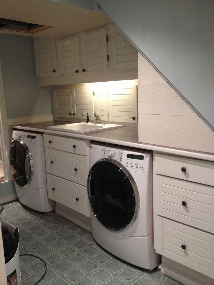 Before and after laundry room remodel with repurposed kitchen cabinets