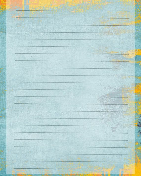 Printable Journal Page Blue Gold Lined Digital Stationery 8