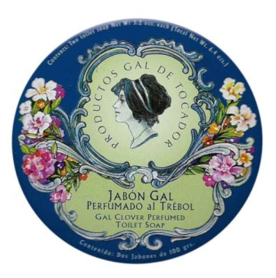 GAL Clover Perfumed Soaps Tin Authentic and discontinued vintage perfumed soaps by Perfumería Gal Madrid for those who like collectibles. Clover fragrance (tranquillizer).  Condition: New. Cute vintage retro tin with beautiful illustrations.  Content: 2 soaps 100g wrapped in silk paper.