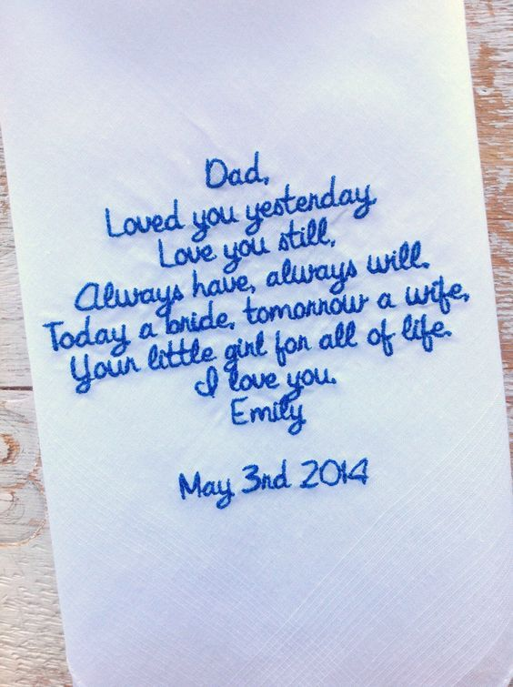 A personal favorite from my Etsy shop https://www.etsy.com/listing/175944050/dad-from-bride-wedding-heirloom: