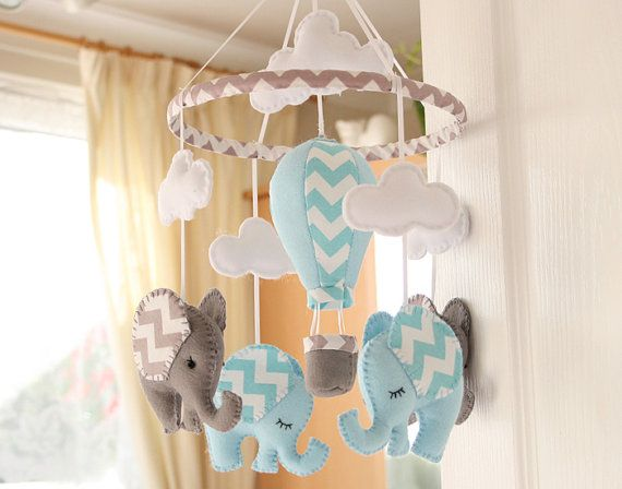 Baby Boy Mobile - Nursery Mobile -  Elephant mobile - Air Balloon Mobile - Blue Grey Mobile  -  MADE TO ORDER