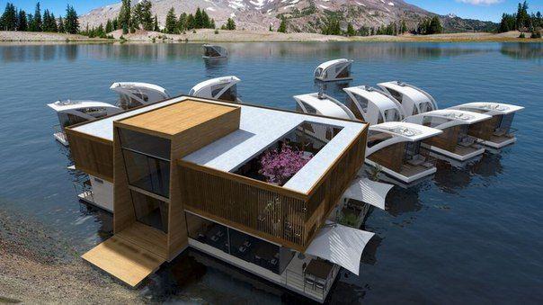 В Сербии придумали отель, где у каждого гостя будет свой плавающий номер. В каждом номере, который рассчитан на 2-4 человек, есть гостиная с кухней, ванная комната, спальня, пляжная палуба, открытая терраса и «капитанский мостик». У берега установлена база отеля, где есть небольшое лобби, зал для мероприятий, ресторан, кафе и два причала. А вы бы хотели побывать в таком отеле?  #недвижимость #сочи #винсент