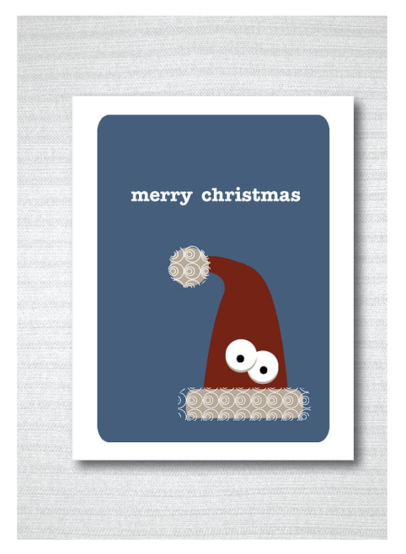 Christmas Card // Christmas hat // Holiday Cards by JAQUELINEB, $3.00