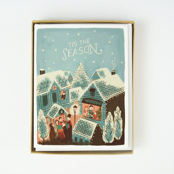 ID: 1178  Tis the Season Description:  4¼ x 5½ , Blank folded card  Printed full color on 88lb cotton cardstock Pack of 10 in clear plastic box