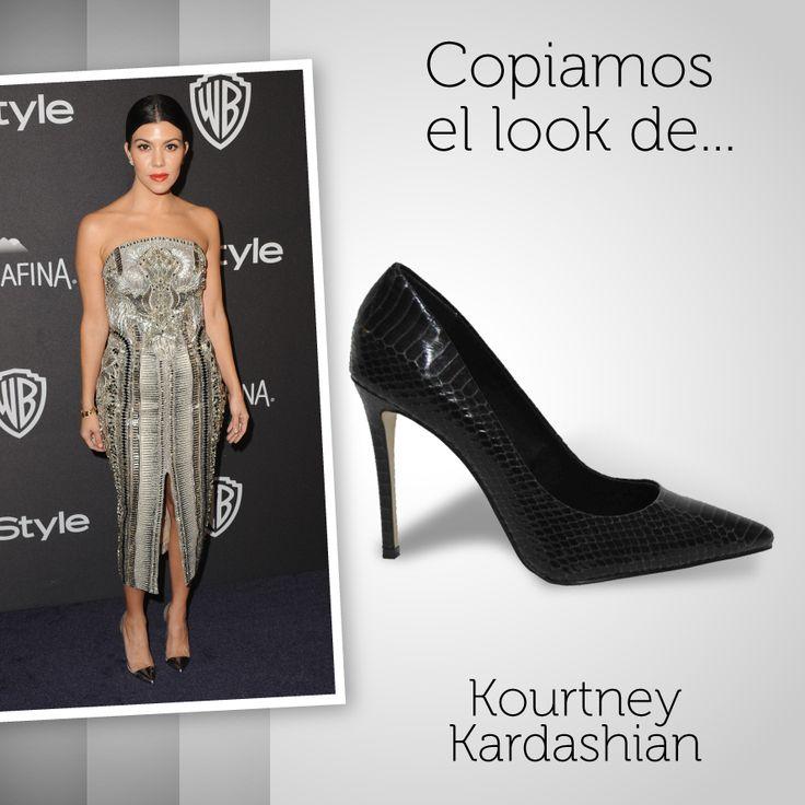 Copiamos el #look de la mayor de las Kardashian's, Kourtney Kardashian, en la gala de los #globosdeoro. ¿Qué os parece la combinación de su #vestido con pedrería acompañado de nuestros #stilettos #animalprint? Puedes conseguir el tuyo aquí