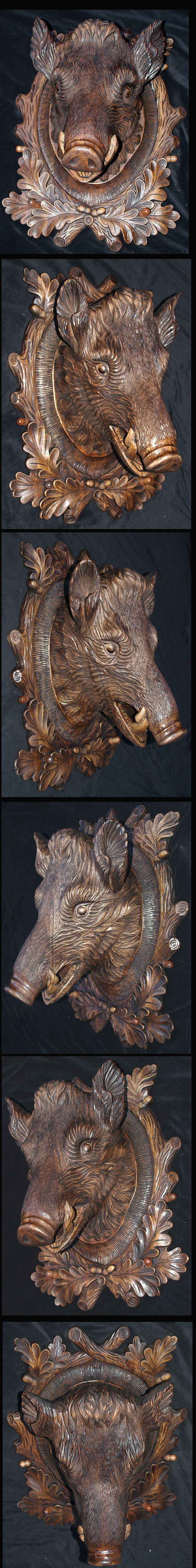 Black Forest Antique Style Hand-Carved  Wild Boar 24