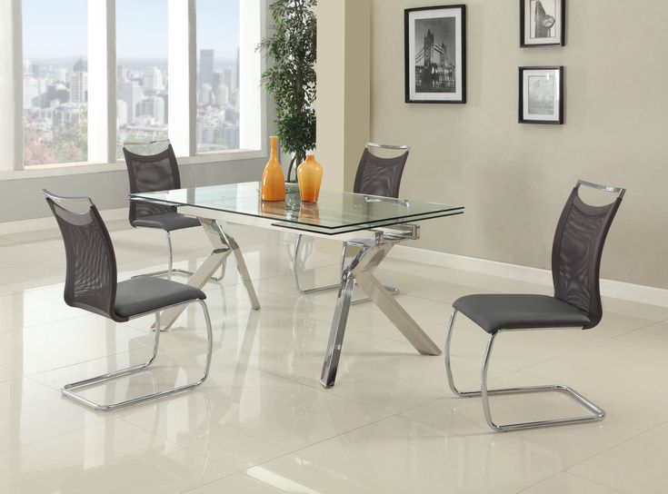 Fashionable Rectangular Glass Top Leather Kitchen Dinette Sets Houston Texas  [Chintaly Ella Nadine