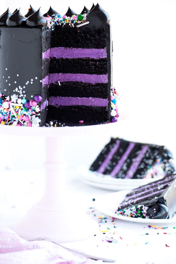 Glam Rock Layer Cake by Sweetapolita - recipe for jet black frosting with black cocoa powder (April 11, 2016)