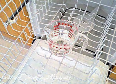 *** HOW TO CLEAN YOUR DISHWASHER ***  * Place a dishwasher-safe cup filled with plain white vinegar on the top rack of the dishwasher run the dishwasher through a cycle except for the cup of vinegar,  sanitizes, and helps remove the musty odor. * After using the vinegar to sanitize the inside of the dishwasher, sprinkle a cupful of baking soda around the bottom of the tub and run it through a short but complete cycle . The baking soda will help freshen