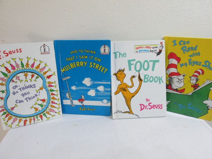 Dr. Seuss Books set of 4 Includes Mulberry Street, The Foot Book, The Thinks you can Think by LuRuUniques on Etsy