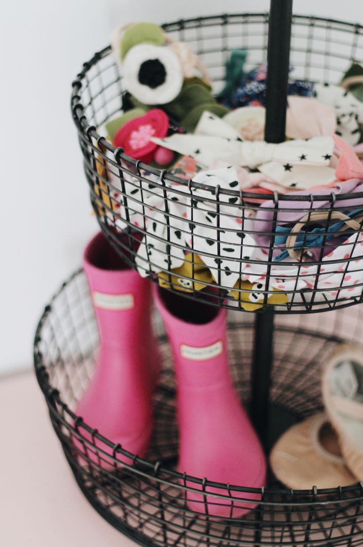 Shared Girls Room // Storage for Bows & Shoes