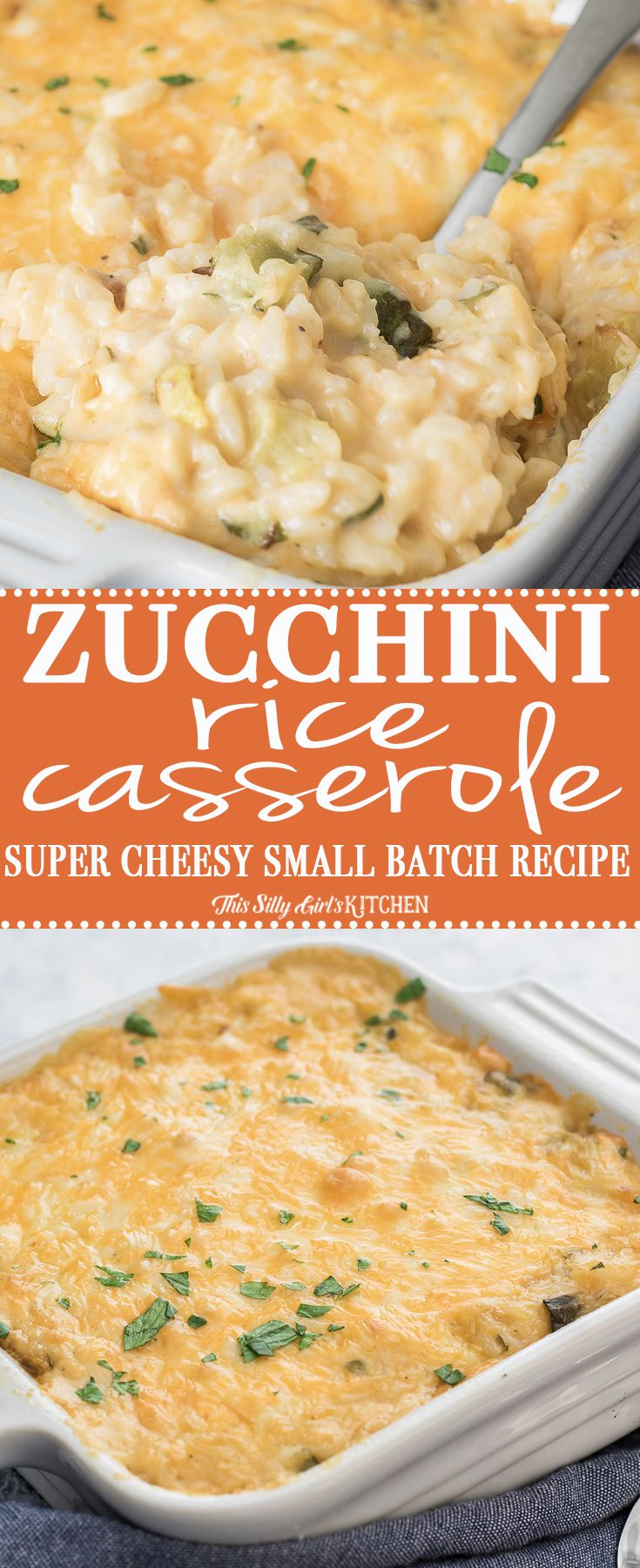 Easy and comforting - #Zucchini #Rice #Casserole, a decadent small batch recipe for a creamy, comforting side dish! #Recipe from ThisSillyGirlsKitchen.com