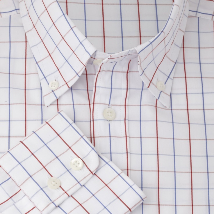 Blue Red Check Slim Fit Shirt