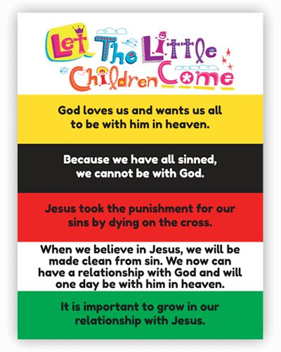 This simple guide comes packaged with each Enamel Charms Salvation Bracelet. Equip kids to present the gospel to their friends through the attractive enamel charms. Based on the same colors as the Wordless Book. Adjustable to fit children and most adults. Learn more:  https://www.letthelittlechildrencome.com/child-evangelism-tools/enamel-charms-salvation-bracelet