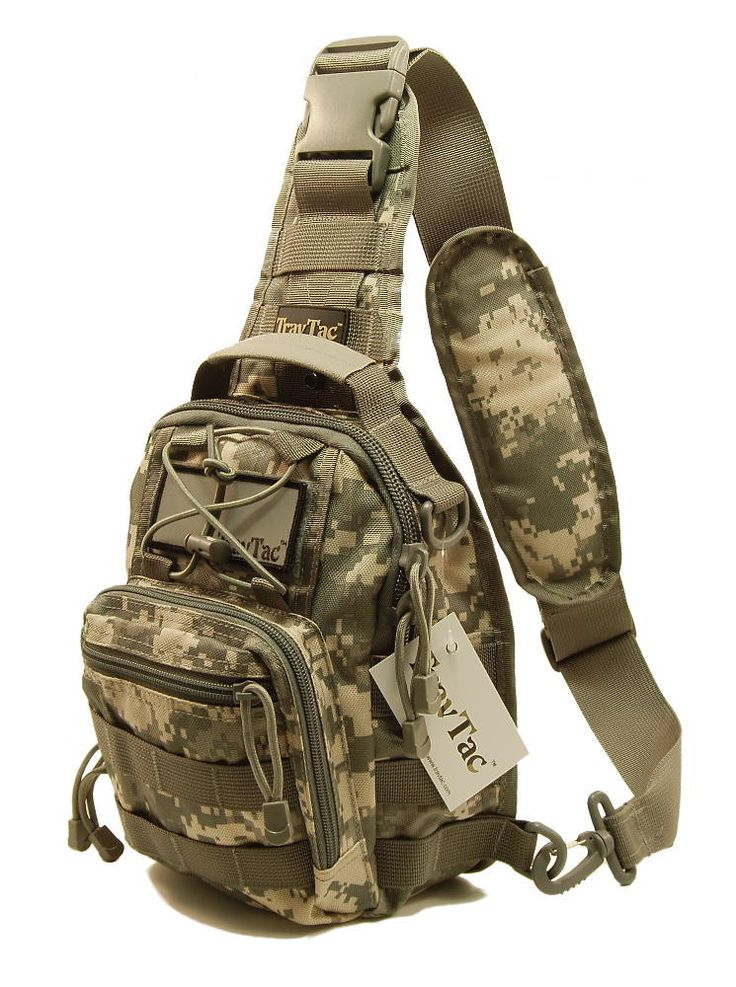 TravTac Stage II Package, Premium Small EDC Tactical Sling Pack 900D ACU Camo