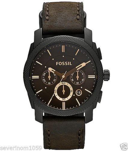 Fossil orologio UOMO acciaio FS4654 MACHINE pelle marrone chronografo orologi