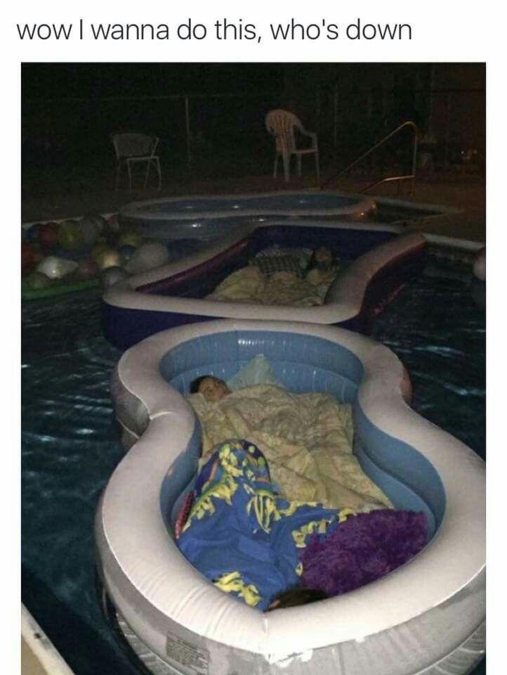Pool sleepover!