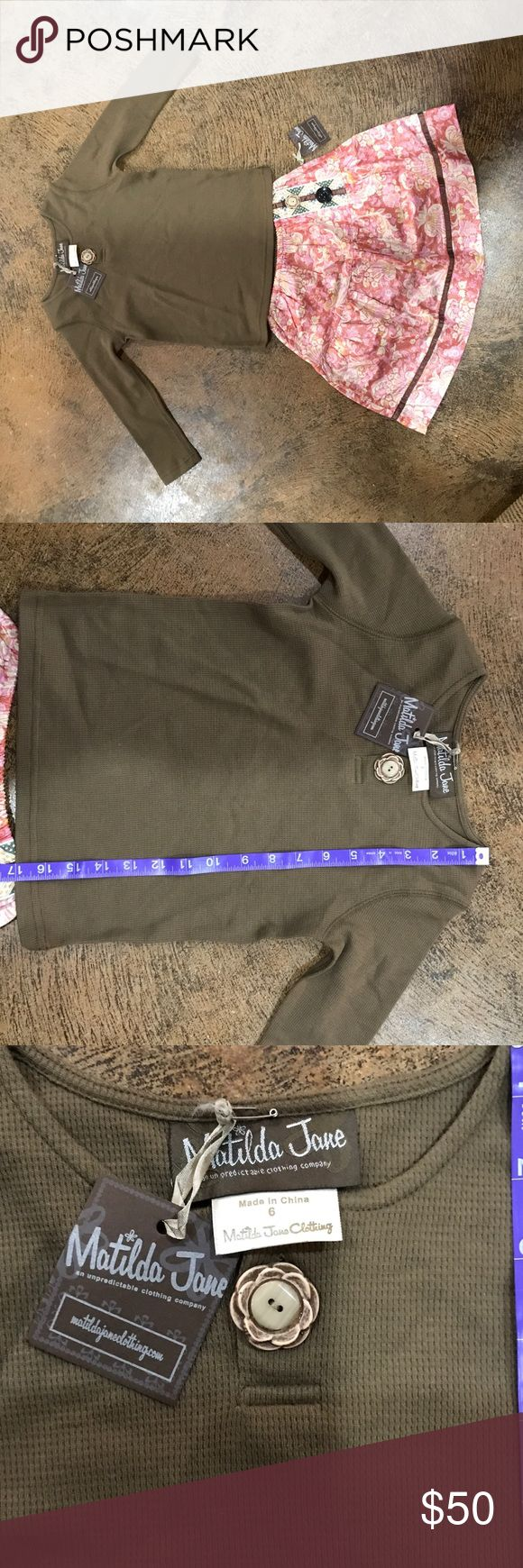 NWT Matilda Jane Skirt set Sz 6 This it's an ultra rare set from Matilda Jane. It's new with tags, brand new!! Gorgeous shiny fabric with whimsical button details on the skirt. The top has a matching button at the neckline. The top is a thermal type fabric that will keep your daughter cozy all Thru fall and winter. Retail $90+ I'm also listing this on ebay, so first come, first served! Matilda Jane Matching Sets