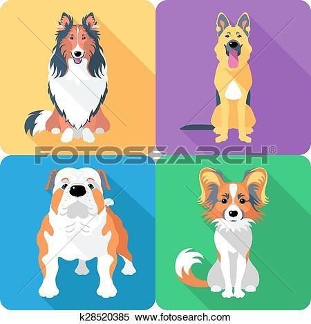 набор, собака голова, символ часов, плоский дизайн Большого Clipart Графический