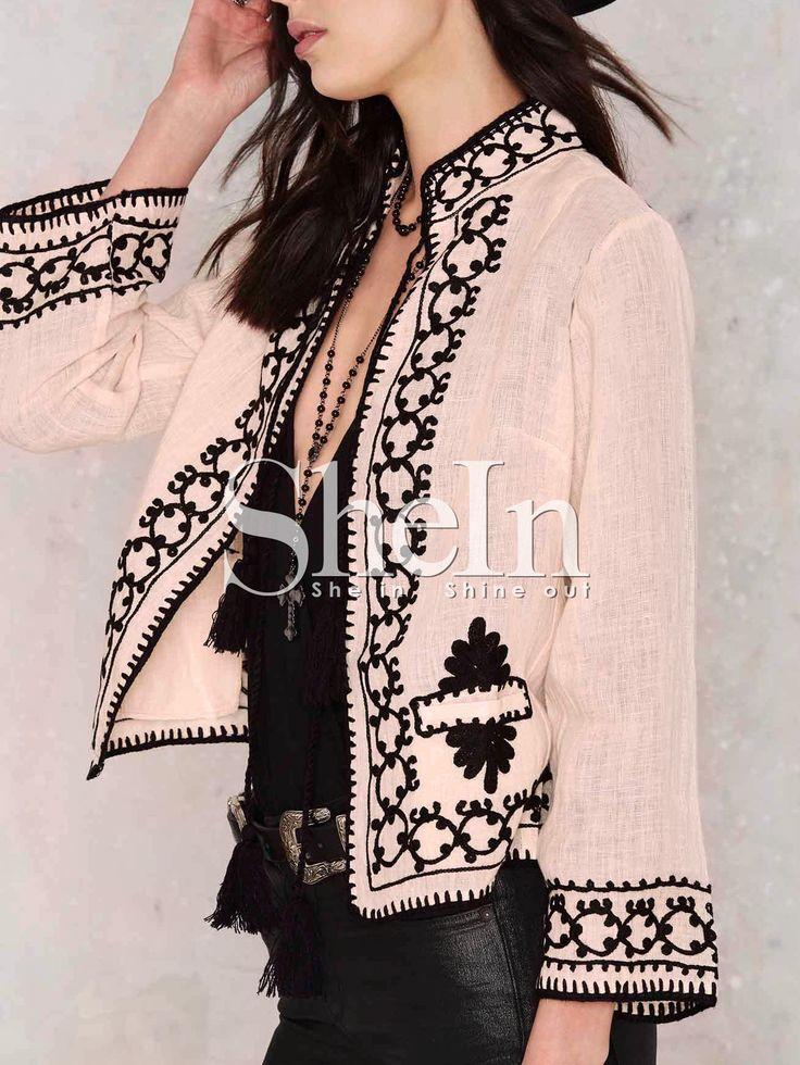 Abrigo sin cuello estampado étnico bordado -rosa