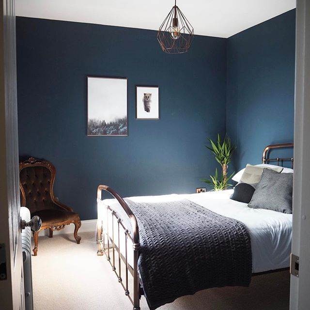 Dark Blue Living Room, Bedroom Colour Schemes Blue