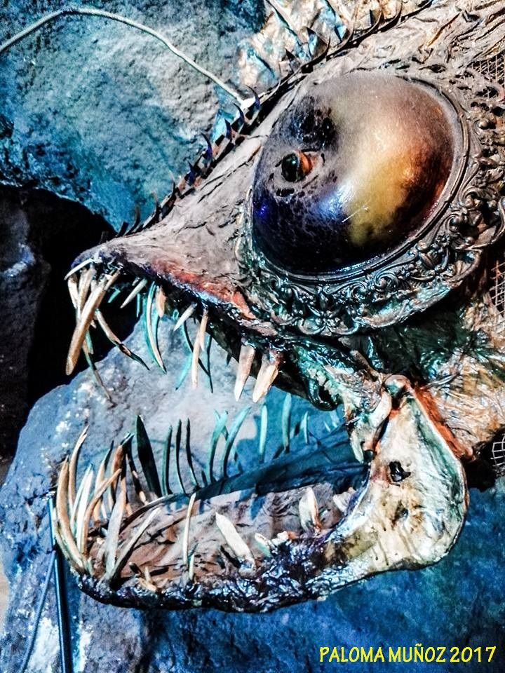 Escultura de cabeza de pez abisal de hojalata Abyssal fish sculpture tin