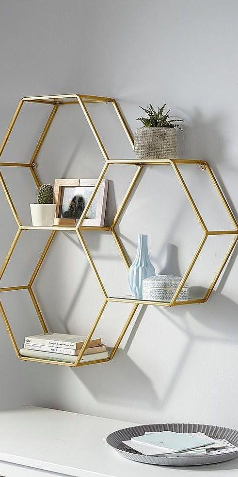 Leonique Wandregal aus Metall Goldene Wohnaccessoires sind ein echter Einrichtun…