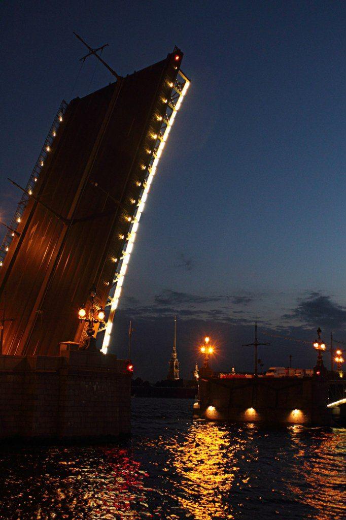 White nights in St Petersburg, Troitsa's bridge opening ~