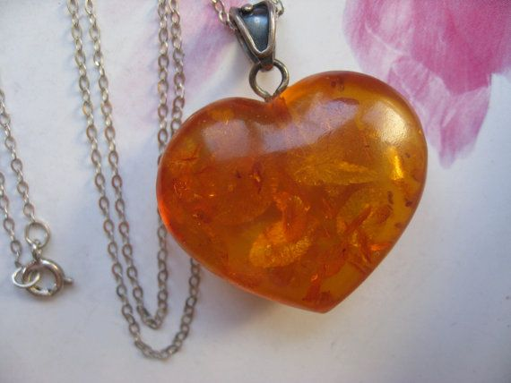 Amber Heart necklace Sterling Puffy Heart Estate by AndOnToWillow
