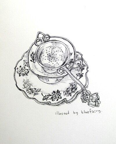 illustration by Famous illustrator Jung Jieun(blue fairy) in South Korea. TITASY  ROSE PEWTER TEA STRAINER.