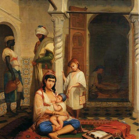 """غروفة ترضع طفلها   Groufa allaitant son Enfant   Signée et datée """"1845"""" en bas à gauche et signée et daté """"1836""""sur le berceau en bas à droite .  Louis Anselme Longa ,Peintre Français (1809_1869)  #algerie #algeria #peinturedalgerie #art #artwork #artofinstgram #paint #painting #oilpainting #الجزائر #الجزائر_المحمية_بالله #تاريخ_الجزائر #التراث_الجزائري #اللباس_التقليدي_الجزائري #لوحات_فنية_جزائرية #لوحة_فنية #اعرف_بلادك_وعرف_بيها #اعرف_بلادك_الجزائر_وعرف_بيها"""