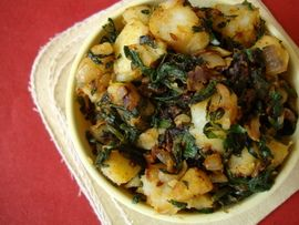 Aloo Methi ~ Indian style dry saute dish - potatoes with fresh fenugreek leaves that are flavored with spices like coriander, cumin and garam masala.