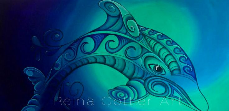 Dolphin Painting by Reina Cottier www.facebook.com/reinacottierart
