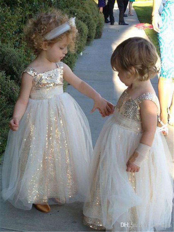 251b10857 Sparkly Gold Sequined Spaghetti Flower Girls Dresses For Wedding ...