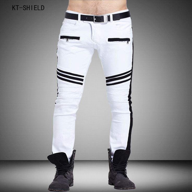Hot Sale White Mens Jeans New Arrival Ripped jeans men Famous Brand Designer biker jeans High Quality Elastic Skinny jeans homme #Affiliate